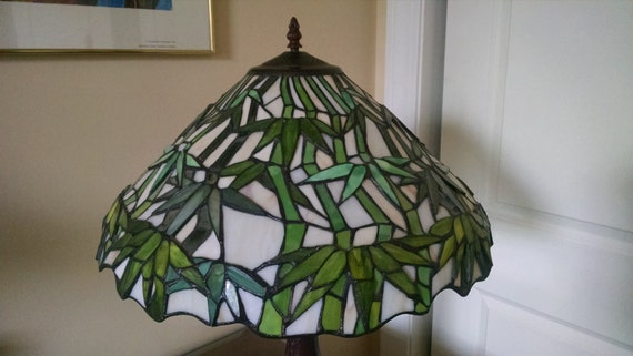 Sale Tiffany Style Stained Glass Tree Green White Lampshade In