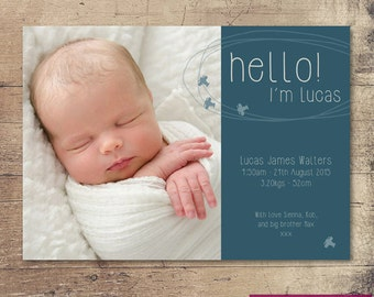 Printable Birth Announcement / Customisable Digital File / JPG or PDF / Aeroplanes