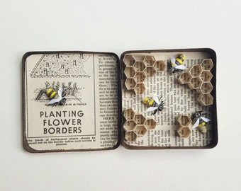Honey Bees in a Tin Hive - recycled paper sculpture