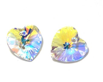 2x Swarovski Heart 14x14 mm - Crystal AB