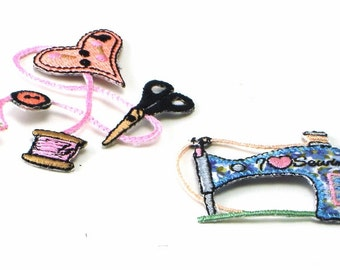 Sewing Themed Embroidered Applique Patchs