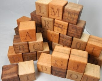 Hand Crafted Wooden Alphabet Blocks - Educational Learning Toy