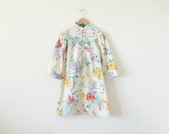 1970s floral dress / vintage dress / china collar dress