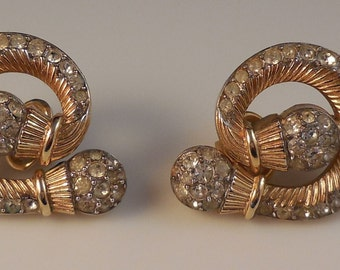 Vintage Alfred Philippe Crown Trifari 1954 Patent 172107 Abstract Crystal Rhinestone Gold Tone Clip Earrings