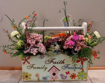 Wood Faith Family Friends Box with Bird Floral Arrangement (Item 265)