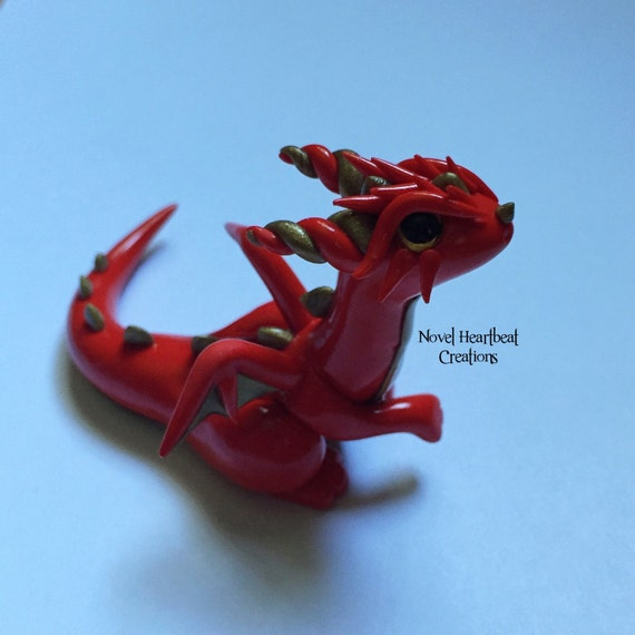 Red Clay Dragon: Red And Gold Polymer Clay Dragon