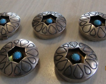Set of 5 Silver Button Covers with Faux Turquoise Stones