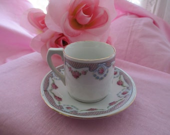 Kahla Germany Mini Pink Roses Teacup and Saucer, Vintage Kahla Germany Pink Rose Teacup And Saucer Set