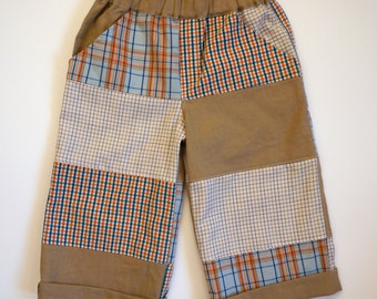 Boys Pants, Boy Trousers, Summer Shorts for Boys , Back to School Trousers, Colourful Patchwork Trousers