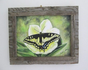 Butterfly on barn wood oil painting print