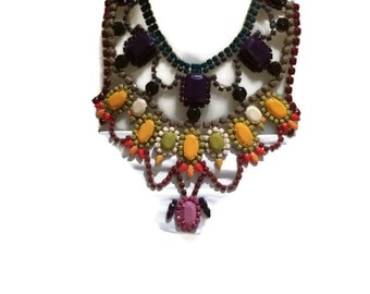 SPRING OMBRE spring 2015 colours hand painted rhinestone statement bib necklace