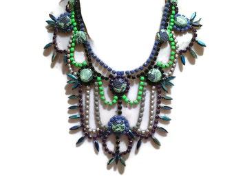 FIREFLIES painted neon green, purple, gold & khaki rhinestone necklace