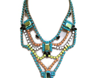 TOTEM neon painted rhinestone necklace