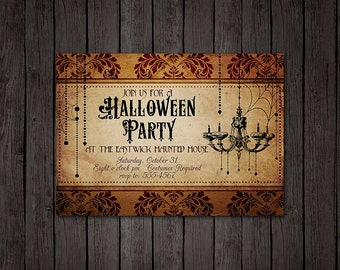 Chandelier Halloween Party Invitation - Halloween Damask Vintage Texture, Gothic Party Invitation, Personalized Digital File