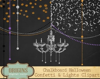 Chalkboard Halloween Clipart, Halloween Confetti Overlays, Chalk Confetti Party Clip Art, Chandeliers, String Light Instant Download