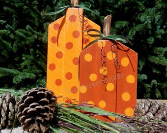 Wood Pumpkins, Polka Dot Pumpkins, Set of 2, Reclaimed Wood, Autumn, Fall Decor,