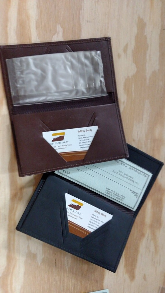 Business Cheque Book Covers : Handmade leather checkbook covers with plastic credit