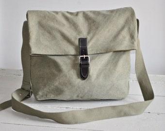 Vintage Canvas Foldover Bag - Army green - Shoulder Bag - Messenger bag