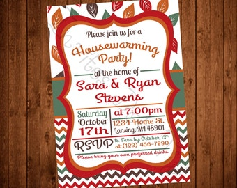 Fall Leaves Printable Housewarming Party Invite