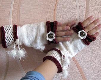 Boho fingerless gloves-Cableknitted Fingerless Gloves-white Mittens- Wristwarmers-winter accessory-handmade half gloves-elegant woman gloves