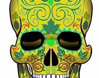 Gold Sugar Skull Stickers for Dia de los Muertos -2 pack of stickers!
