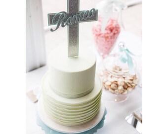 Cross | Name Topper - Christening Baptism Cake Topper