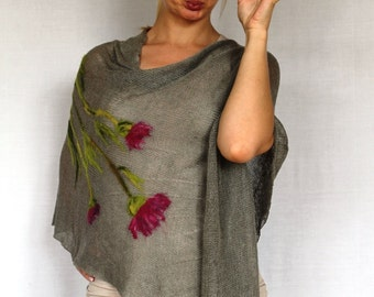 Pure Linen Pancho Cape Gray wrap poncho linen sweater pancho linen cape gray Scarf Knit Shawl Modern Clothing Accessories