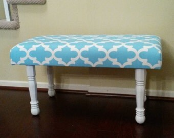 Upholstered Bench - Blue and White