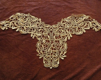 Large gold metallic guipure lace neck trim applique