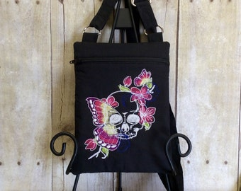 Skull and Butterfly embroidered Crossover bag, crossbody purse, Travel Purse, Hipster Bag, Over The Shoulder Bag, Small Cloth Purse, Sling