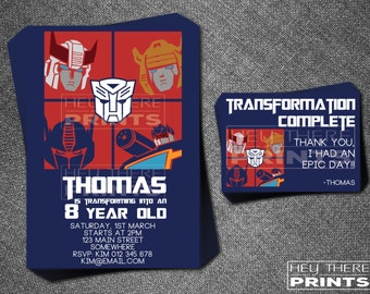 Transformers Invitations and Thank You Cards - Autobots - Optimus Prime - Bumblebee