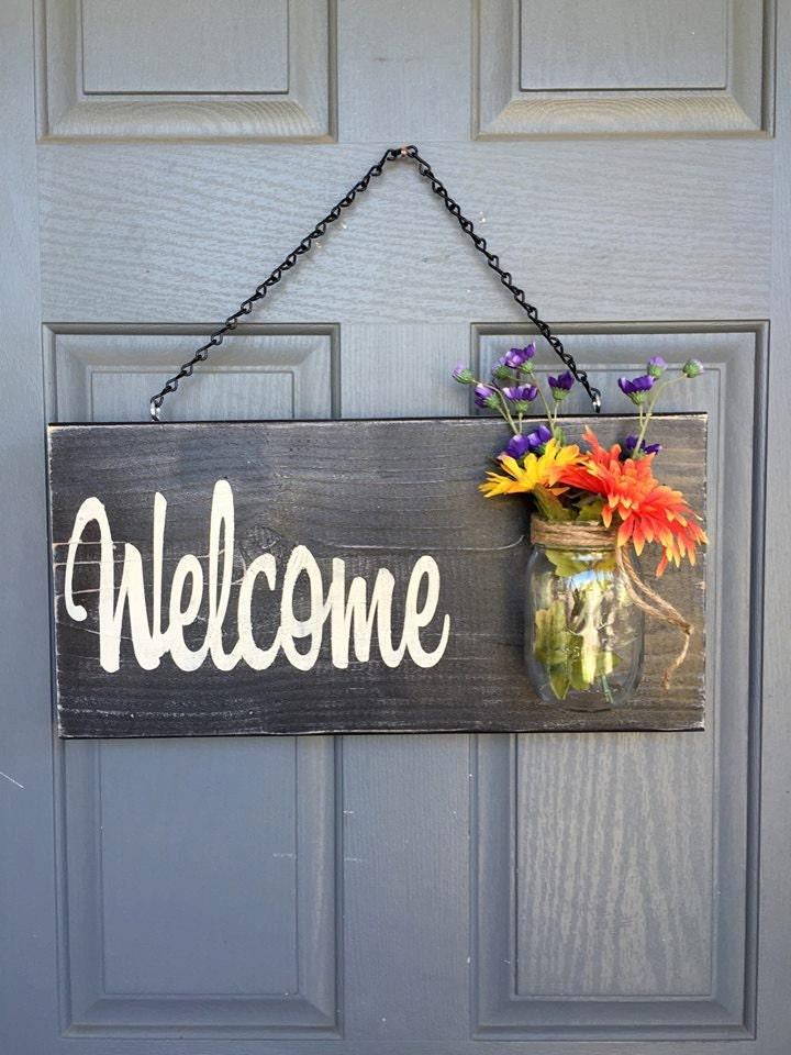 Rustic Outdoor Welcome Sign In Black Wood Signs Front Door