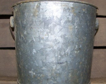 Vintage Galvanized Bucket with Handle Old Metal Pail Rustic Farmhouse Decor Flower Pot