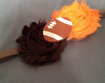 Cleveland Browns Football, Brown, and Orange Rosette Flower Headband