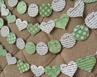 William Shakespeare Recycled Book Page, Green Heart Garland Decorations