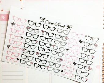 Glasses Stickers / Pink & Black /  Planner Stickers / 48 Count