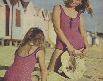 Bikini Pattern Swimsuit Pattern Mother and Daughter Swimsuit Pattern Bath suit Pattern KNITTING PATTERN