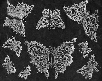 Crochet Butterfly Pattern Vintage year 1913 Ornament Crochet Butterflies Iris Crochet Pattern Butterflies Applique Pattern-9 PATTERNS