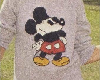 Sweater Pattern Vintage 70s Mickey Mouse Top Pattern Sweatshirt Pattern Intarsia Chart KNITTING PATTERN