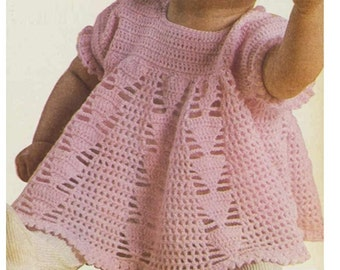 Vintage Crochet Baby Dress Pattern : Items similar to Crochet Baby Dress Size 0-3 Months, Easy ...