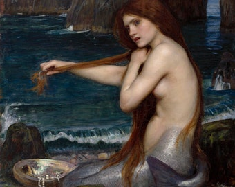 A Mermaid by John William Waterhouse, in various sizes, Giclee Canvas Print