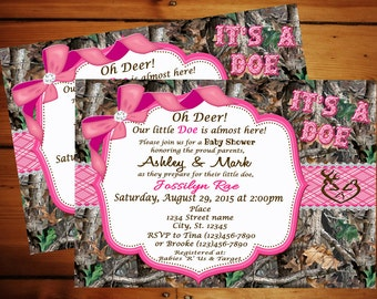 PINK It's a Doe Camo Baby Shower Invitation/Pink Camo Invitation/Real Tree Camo/It's a Girl Camo/Camo Baby Shower/Camo Personalize
