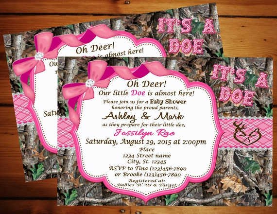 Pink it 39 s a doe camo baby shower invitation pink camo for Pink camo decorations