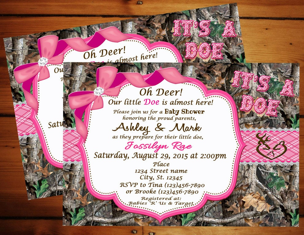 pink it 39 s a doe camo baby shower invitation pink camo