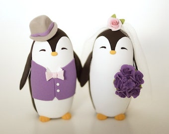 Penguin Wedding Cake Topper  - Penguin Groom In A Vest