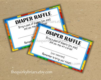 Printable Diaper Raffle Tickets / Baby Shower Games / Baby Boy / Color Bricks / Lego Blocks / Digital PDF Party Decors / Instant Download