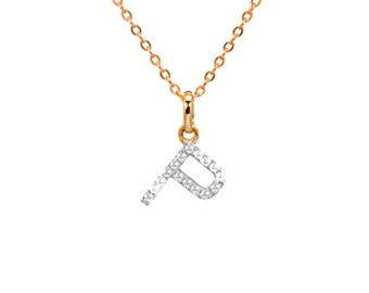 diamond initial necklace, diamond letter necklace
