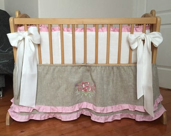 Cradle bedding /// Baby girl pink natural linen soft linen embroidered monogram, Nursey bedding