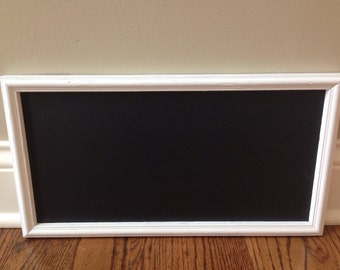 Long White Painted Vintage Framed Chalkboard