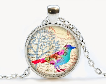 Vintage Floral Lovely Bird Glass pendant. Bird Necklace. Bird jewelry, birthday gift